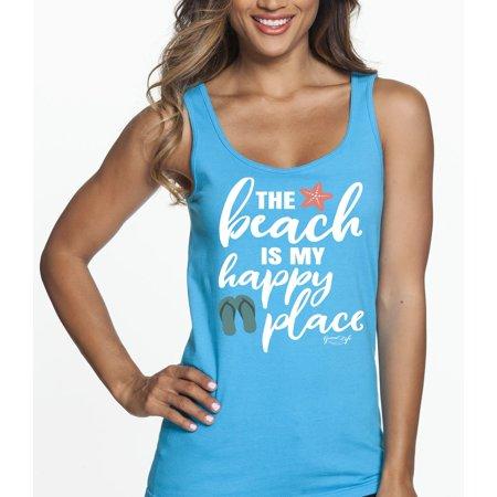 b3d6d9574f Good Life Apparel - Women's Beach is my Happy Place Tank Top 100% Cotton -  Relaxed Fit - Lightweight - Walmart.com