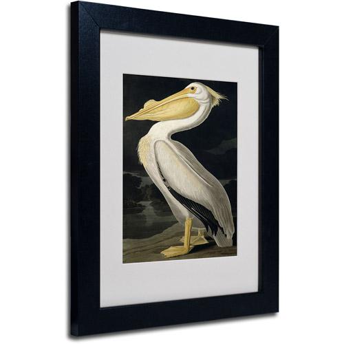 "Trademark Fine Art ""American White Pelican"" Canvas Art by John James Audubon, Black Frame"