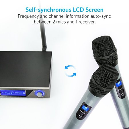 ARCHEER UHF Wireless Microphone Receiver System with 2 Cordless LCD Display Handheld Dynamic Microphones - For Outdoor Wedding Conference Karaoke Microphone Systems Party - image 5 of 9
