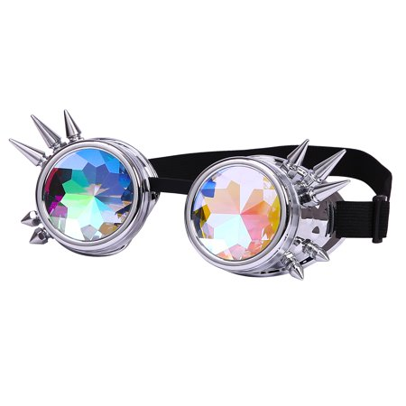 3bf00a39b4e HDE Kaleidoscope Steampunk Goggles Rainbow Rave Glasses with Crystal Glass  Lenses (Iridescent Frames) ...