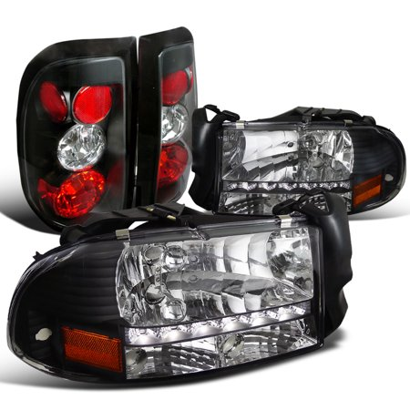 Spec-D Tuning 1997-2004 Dodge Dakota Led Crystal Headlights & Black Tail Brake Lamps (Left + Right) 97 98 99 00 01 02 03 04