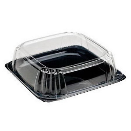 Sabert UltraStack Thermoformed Disposable Square Catering Tray with Lid Black Platter Clear Dome, 11