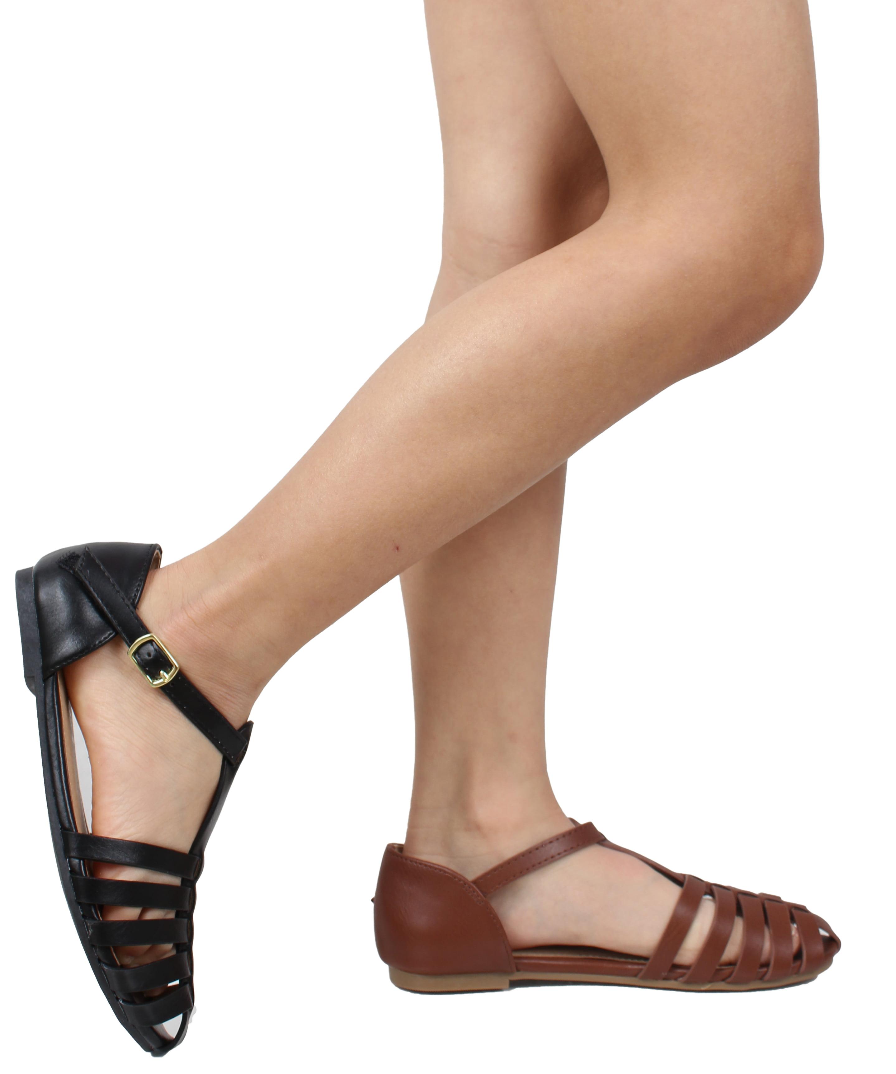 Soda - Soda Girl s Closed Toe Strappy Braided Ankle Strap Flat Sandal  (Black