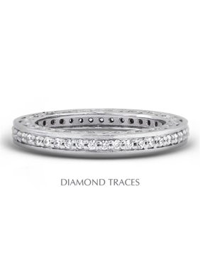 Diamond Traces UD-EWB452-2002 18K White Gold Pave Setting 0.58 Carat Total Natural Diamonds Vintage Eternity Ring