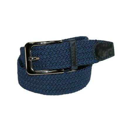 Men's Elastic Braided Stretch Belt with Silver Buckle Brown Braided Belt