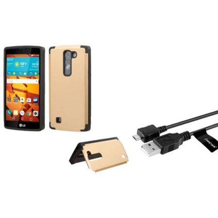 Insten Hard Cover Case W Card Slot For Lg Magna Volt 2   Gold    Usb Data Sync Charge Cable
