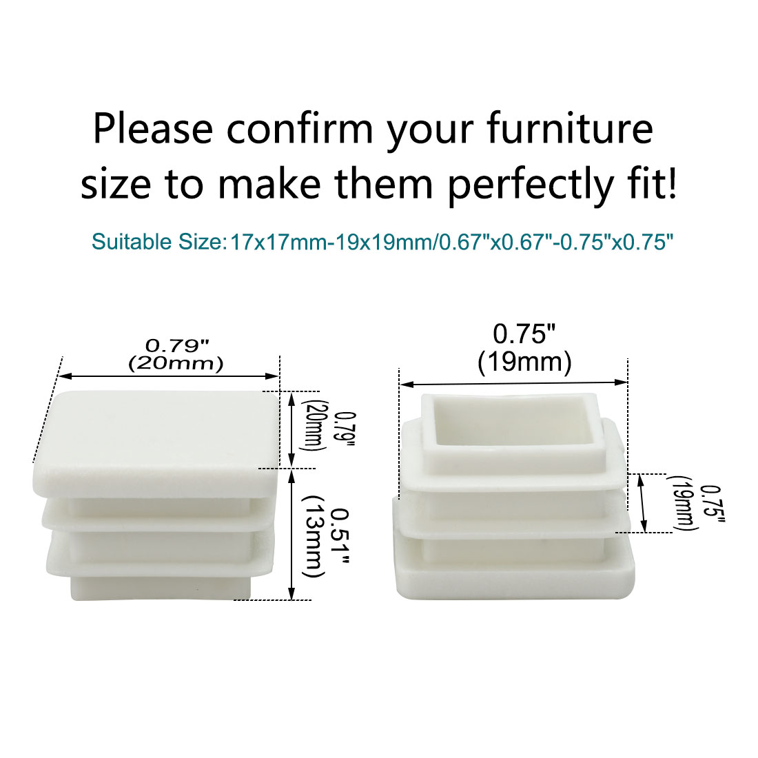 "20 x 20mm Plastic Square Ribbed Tube Inserts Cover Caps, for 0.67"" to 0.75"" Inner Size, Furniture Desk Chair Feet Floor - image 3 of 7"