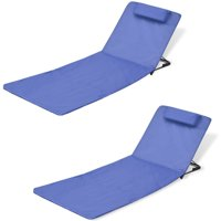 WALFRONT Folding Beach Chairs 2 pcs Powder-coated Steel Blue