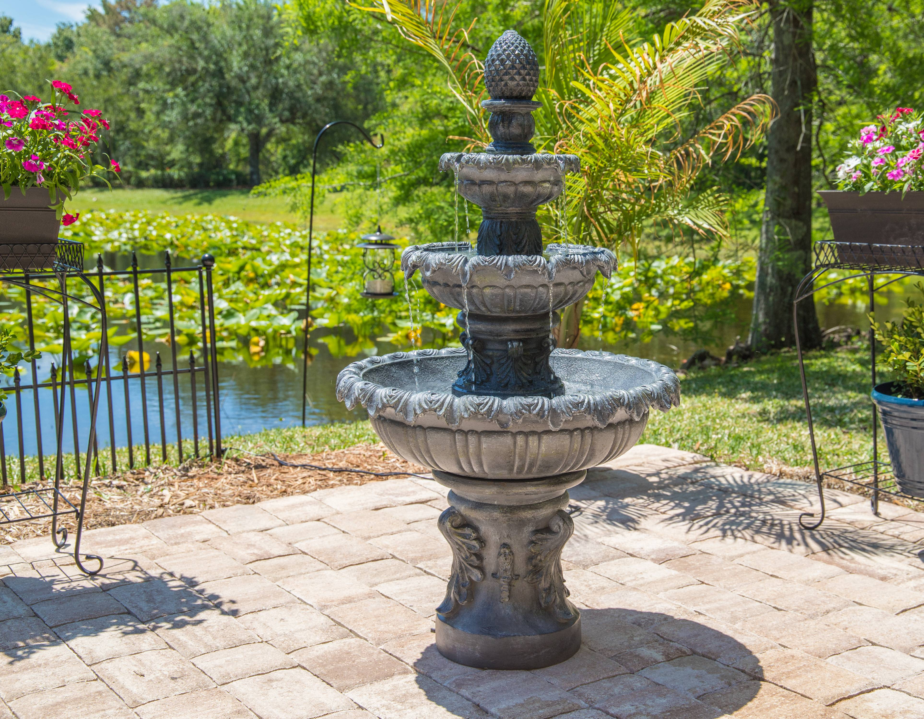 Kenroy Home Ibiza Two-Tiered Outdoor Fountain Zinc Finish by Kenroy Home