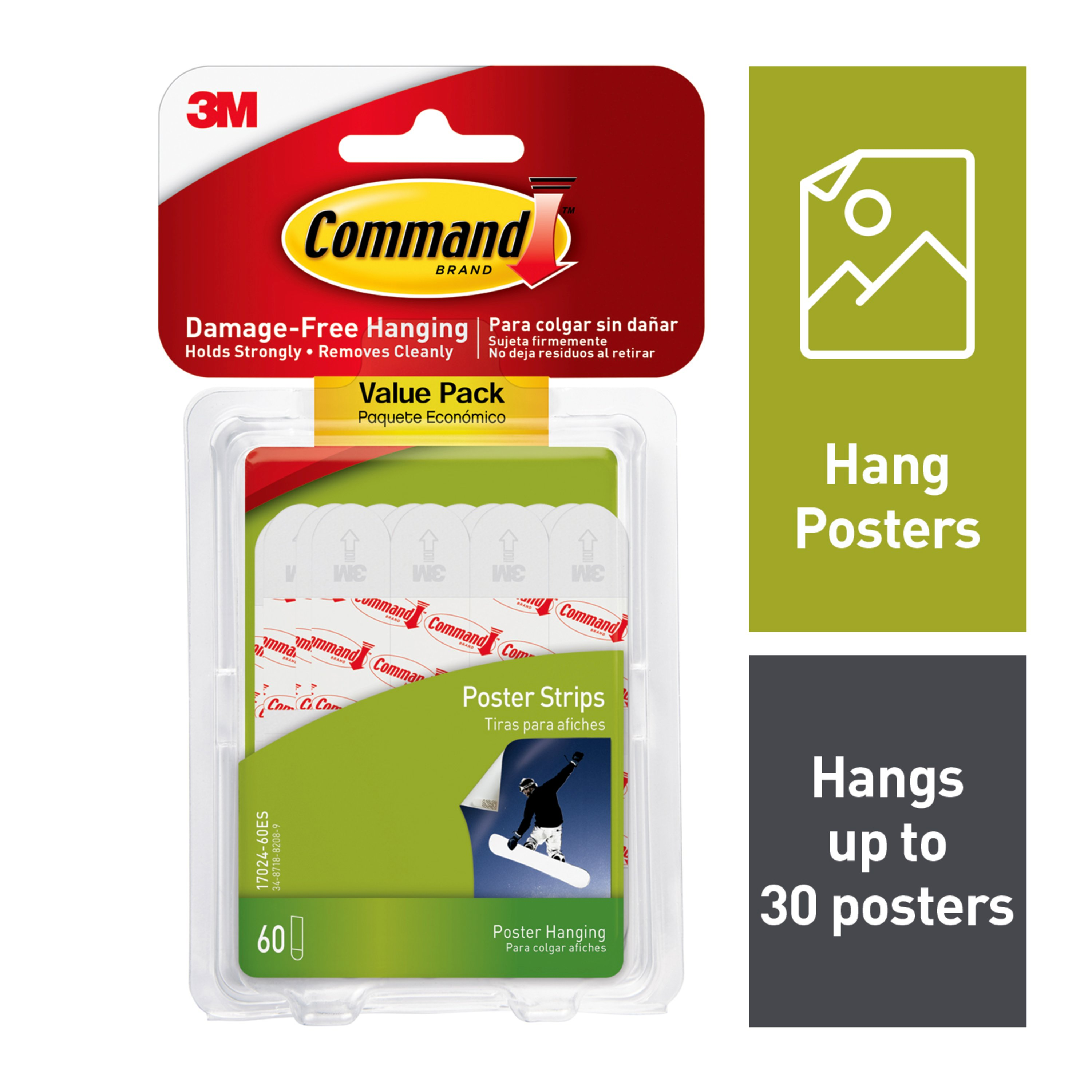 Command Poster Strips Value Pack, White, Small, 60 Strips/Pack