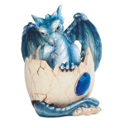Baby Blue Dragon in Egg with Gem Fantasy Figurine September Birthstone Sapphire