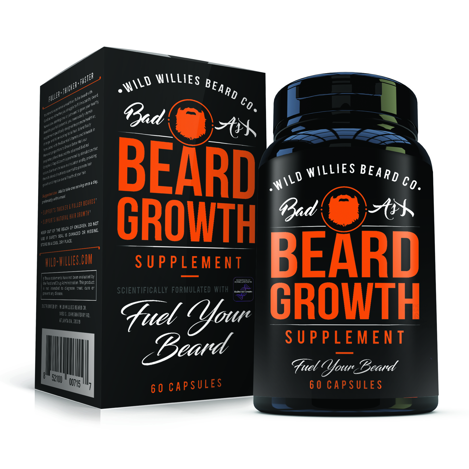 Wild Willies Beard Growth Supplement with Biositol AsX, 60 Capsules