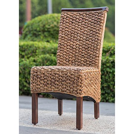 Bunga Hyacinth Weave Dining Chair with Mahogany Hardwood Frame - Salak Brown ()