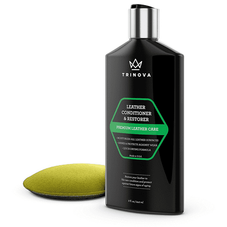 TriNova Leather Conditioner and Restorer, Best for Furniture, Couches, Seats, Interior (Applicator Included), (Best Fabric Cleaner For Car Seats)