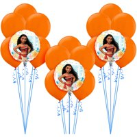 Party City Moana Balloon Supplies, Include 15 Orange Latex Balloons, 3 Disney Princess Foil Balloons, and Curling Ribbon
