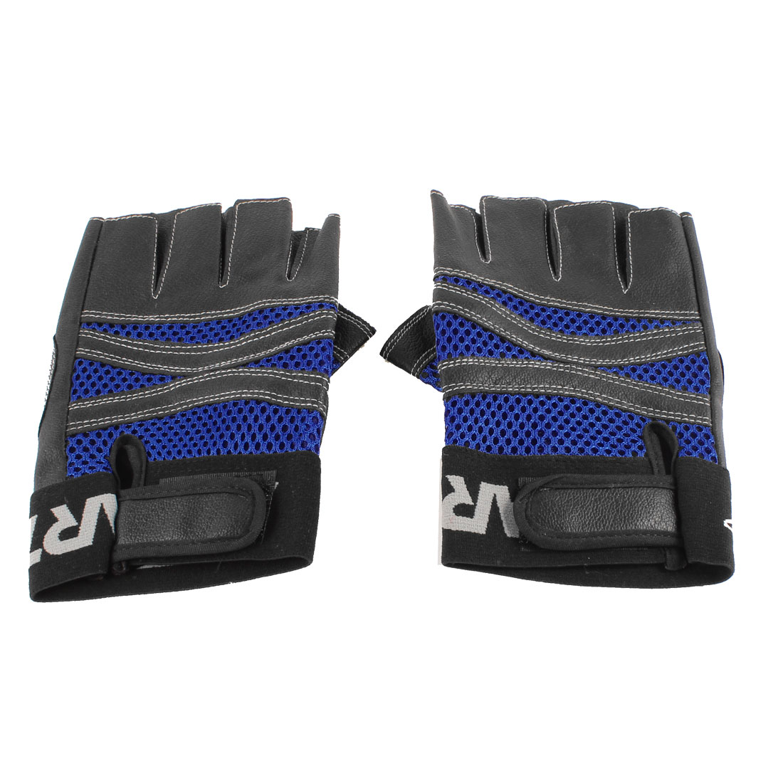Pair Man Black Blue Faux Leather Mountain Bike Skiing Half Finger Gloves by Unique-Bargains
