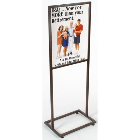 22-1/4 x 61 x 15-1/2-Inch, Free-Standing Metal Sign Frame, Copper-Speckled Finish, Top Loading, With Floor Levelers (TWN2228PVN)