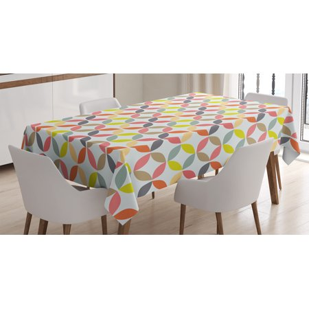 Geometric Circle Decor Tablecloth, Decorative Ornament Vintage Connected Arcs Intersecting Centre Discs, Rectangular Table Cover for Dining Room Kitchen, 52 X 70 Inches, Multi, by Ambesonne (Center Table Decor)