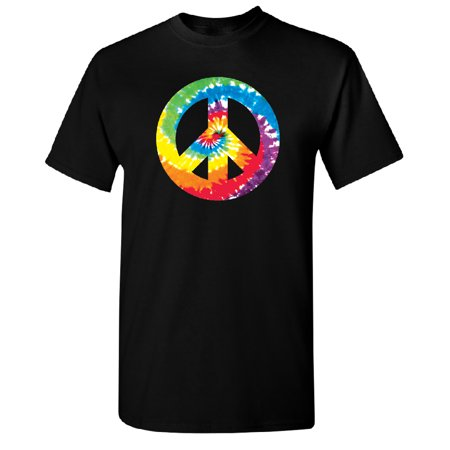Back Vintage T-shirt - Colored Tie Dye Vintage Peace Sign Men's T-shirt Tee Black Small