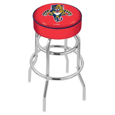 Holland Bar Stool L7C130FlaPan 30 inch 4 inch Florida Panthers Cushion Seat With Double-Ring Chrome Base Swivel Bar Stool by