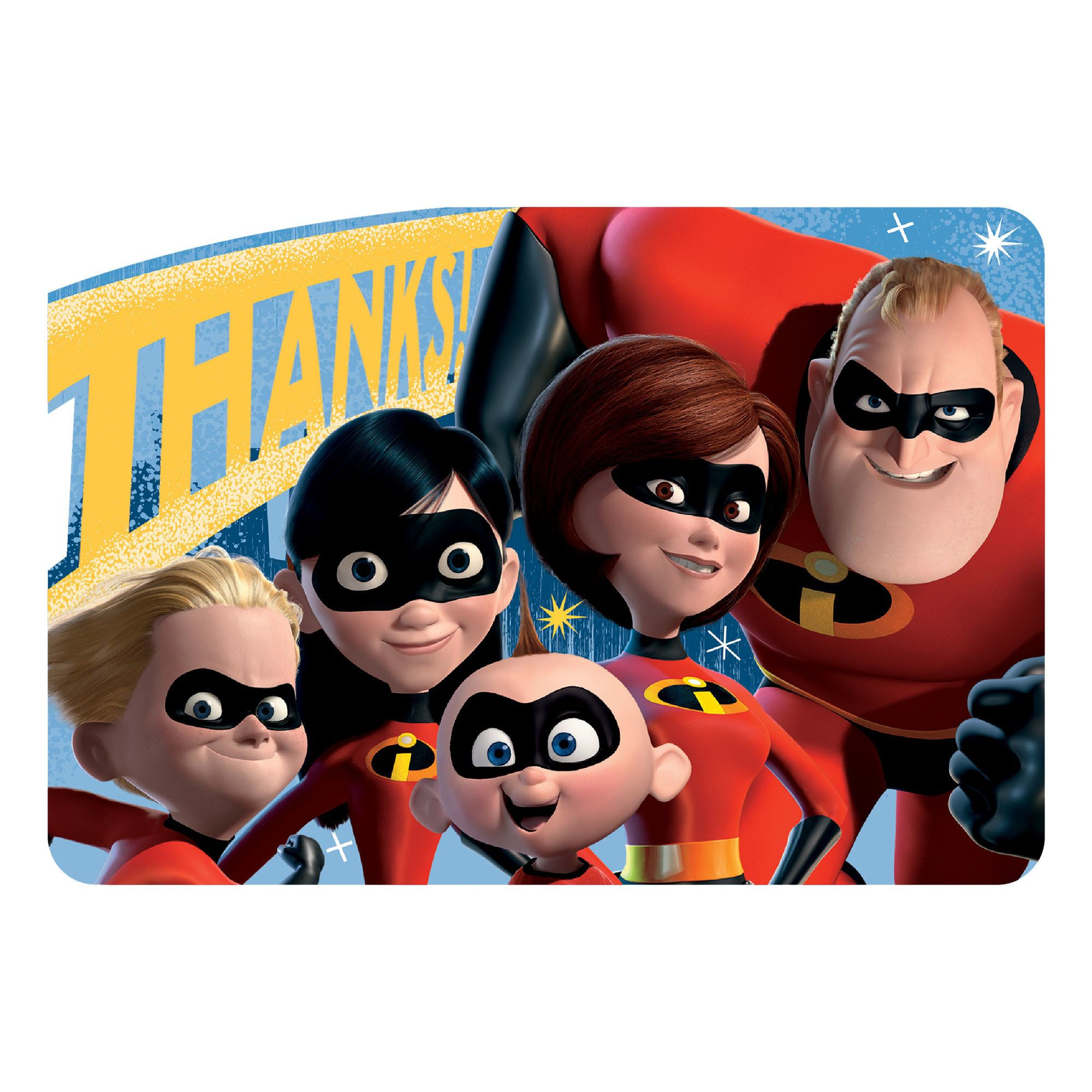 Incredibles Party Supplies 8 Pack Thank You Notes