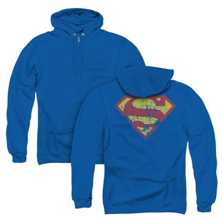 Trevco Sportswear SM1498BBK-AZH-1 Superman & Classic Logo Distressed Back Print Adult Zipper Hoodie, Royal Blue - Small