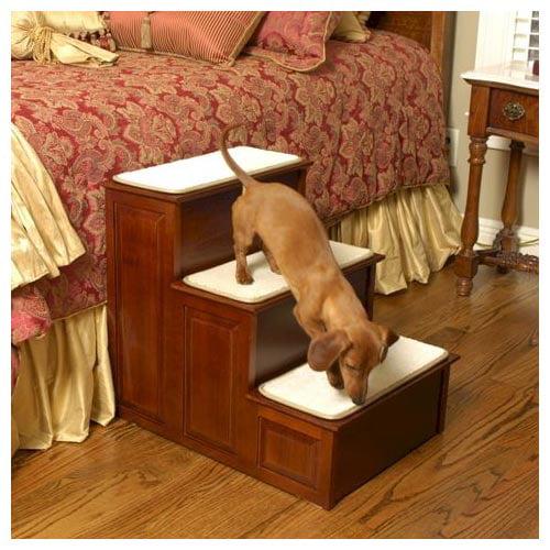 Mr.  Herzhers 15301 Three Step Wood Dog Steps - Cherry