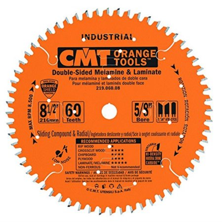 CMT 219.060.08 Industrial Sliding Compound Miter & Radial Saw Blade, 8-1/2-Inch x 60 Teeth 4/30° ATB+1TCG Grind with 5/8-Inch Bore, PTFE Coating