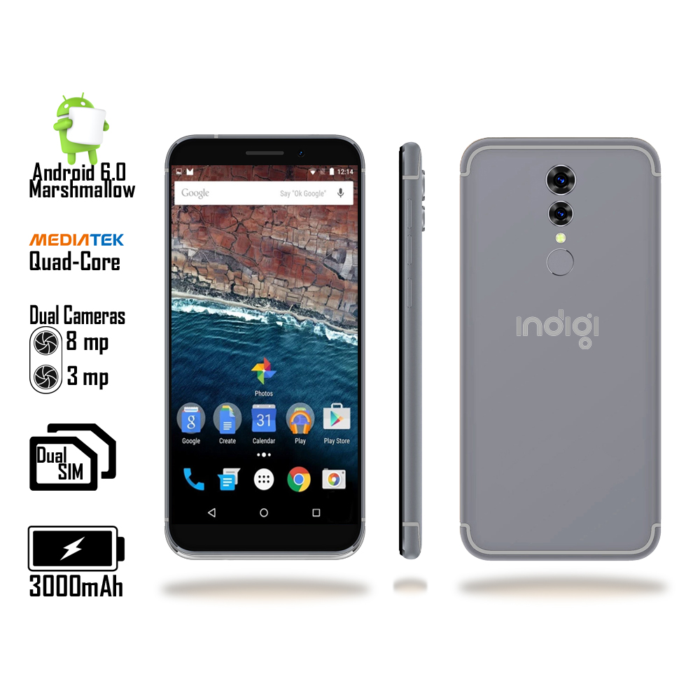 Indigi® Unlocked Indigi 5.0inch QuadCore 4G Android 6.0 Smart Cell Phone aT&T / T-mobile