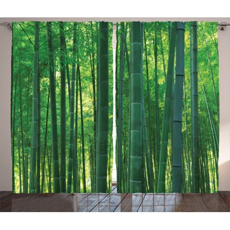 Bamboo House Decor Curtains 2 Panels Set, Asian Oriental Exotic Bamboo Trees In The Rainforest Horizontal Jungle Stalk Nature View, Living Room Bedroom Accessories, By Ambesonne
