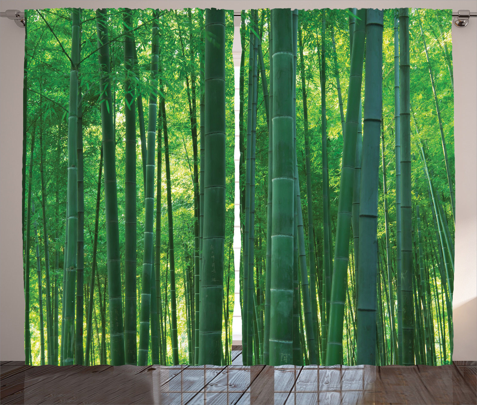 Bamboo House Decor Curtains 2 Panels Set, Asian Oriental Exotic Bamboo  Trees In The Rainforest