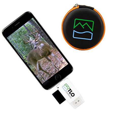 TLO Outdoors TrophyTracker Trail Camera Viewer - For iPhone, Android, iPad - Great for Hunters and Sportsmen, Includes Extender and Protective Carrying Case (SD/MicroSD/USB Card Reader)