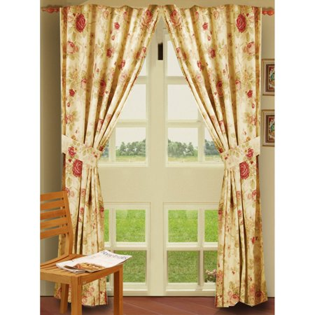 Greenland Home Fashions Antique Rose - 84L x 42W in. Window Panel Pair with Tiebacks - Pair Estate Roses