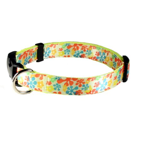 Country Brook Petz™ Deluxe Yellow Retro Ribbon Dog Collar