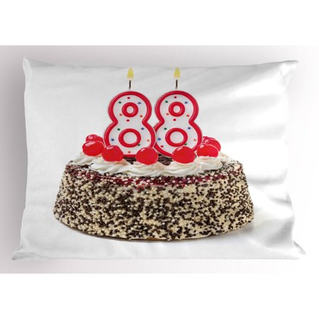 88th Birthday Pillow Sham Happy Old Years Greeting Cake with Cherries Candle Yummy Image Artwork Print, Decorative Standard Queen Size Printed Pillowcase, 30 X 20 Inches, Multicolor, by