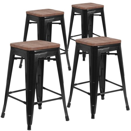 Marvelous Flash Furniture 4 Pk 24 High Backless Black Metal Counter Height Stool With Square Wood Seat Ocoug Best Dining Table And Chair Ideas Images Ocougorg
