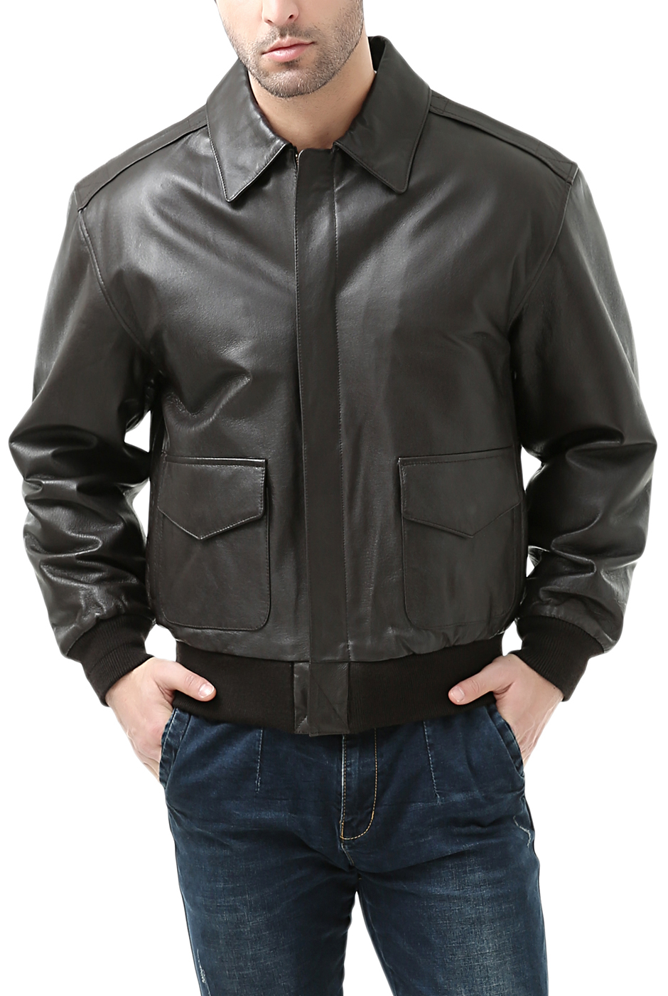 aea5a6340 Men's Air Force A-2 Leather Flight Bomber Jacket - Big & Tall