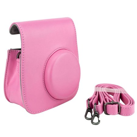 Flamingo Pink Groovy Case For Fuji Instax Mini Camera + Strap! Brand (Fitted Soft Camera Case)