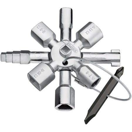 00 11 01 Twin Key Universal Control Cabinet Key, Chrome, Multifunctional key for the actuation of locking systems from the areas of facilities engineering, gas and water supply and shut-off-systems