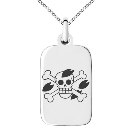 Stainless Steel One Piece Tony Tony Chopper Pirate Skull Flag Engraved Small Rectangle Dog Tag Charm Pendant (Skull Chopper)