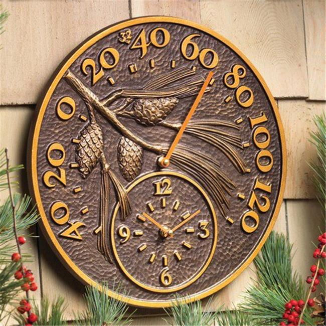 Pinecone Outdoor Thermometer Clock - Antique Copper