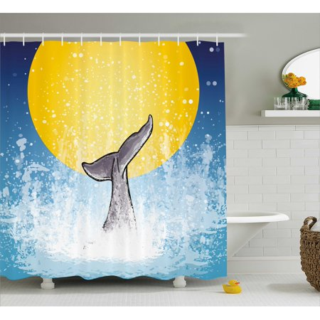 Whale Shower Curtain Whales Tail In Ocean On Full Moon Diving Water Swimmer Marine Animal