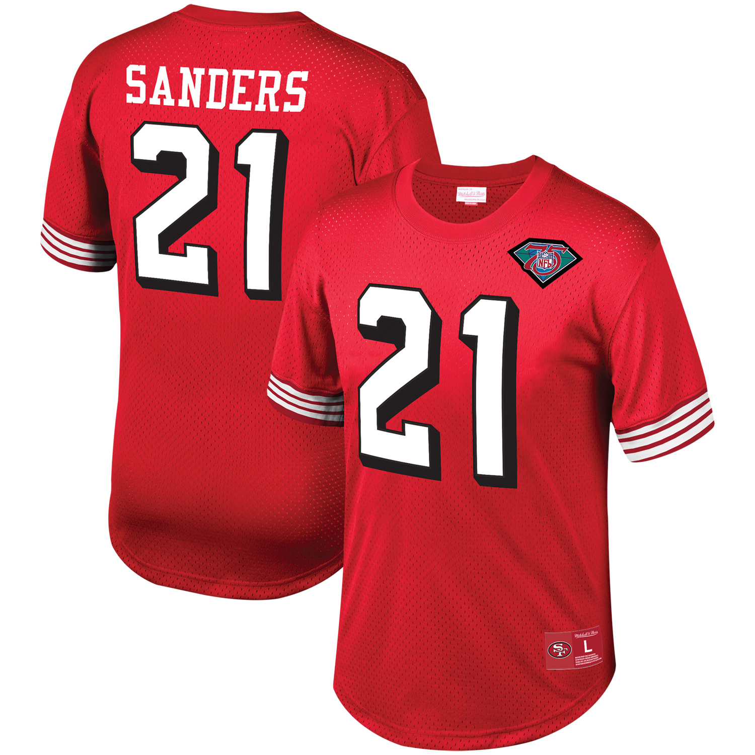 Deion Sanders San Francisco 49ers Mitchell & Ness Mesh Retired Player Name & Number Top - Scarlet