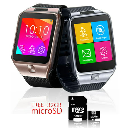Indigi  Unlocked 2 In 1 Swap2 Smartwatch   Phone   Bluetooth Sync   Pedometer   Built In Camera W  32Gb Microsd Included