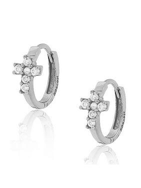 925 Sterling Silver White Round CZ Religious Latin Cross Womens Girls Hoop Huggie Earrings