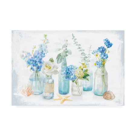 Trademark Fine Art 'Beach Cottage Florals I' Canvas Art by Danhui Nai Beach Cottage Wall Art