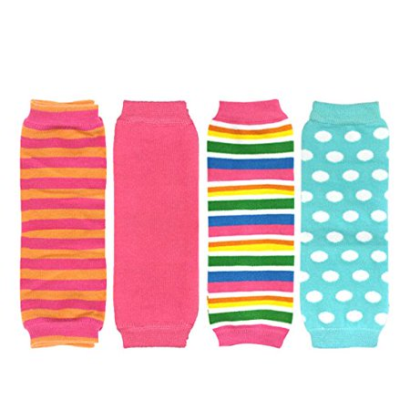 ALLYDREW Footless Leg Warmers for Babies and Toddlers - Stripes, Pink, Rainbow, Blue Dots (4