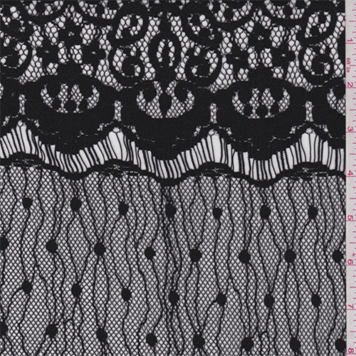 Black Baroque Polyester Lace, Fabric By the Yard