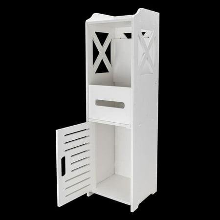Ktaxon Bathroom Floor Cabinet Freestanding Single Door 2-Tier Storage Organizer White