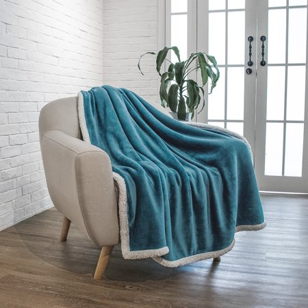 Premium Sherpa Throw Blanket By Pavilia   Sea Blue  50 X 60